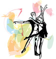 Abstract couple dancing ballet vector image