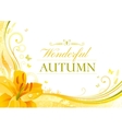 Autumn background with yellow lily flower falling vector image