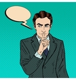 Businessman Silent Quite Gesture Pop Art vector image