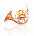 french horn music instrument colorful vector image