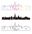 Graz skyline linear style with rainbow vector image