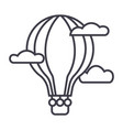 hot air balloon line icon sign vector image