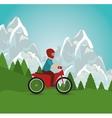 motorcycle man riding landscape design vector image