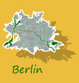 sticker berlin city map with boroughs silhouette vector image