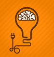 Symbolic light bulb with brain inside and electric vector image