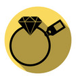 diamond sign with tag  flat black icon vector image