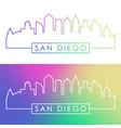 san diego skyline colorful linear style vector image
