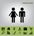 male and female sign  black icon at gray vector image