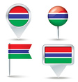 Map pins with flag of Gambia vector image