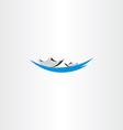 boat in lake sign logo vector image