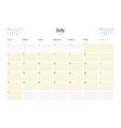 Calendar Template for July 2016 Week Starts Sunday vector image