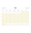 Calendar Template for July 2016 Week Starts Sunday vector image