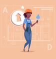 cartoon female builder african american wearing vector image