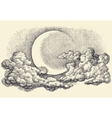 Night sky moon in the clouds hand drawing vector image