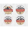 Set of retro color outdoor camping adventure and vector image