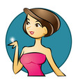 sexy woman showing diamond ring on her finger vector image