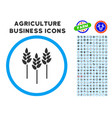 wheat ears rounded icon with set vector image