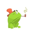Green Frog Funny Character Smoking Pipe Childish vector image