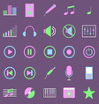 Music color icons on violet background vector image