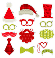 Christmas Photobooth Party set - Glasses hats lips vector image