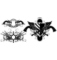 set of ornamental elements with guns vector image