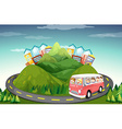 People riding in van up the mountain vector image vector image
