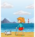 A girl strolling at the beach with a puppy vector image