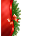 Christmas tree branches with a red ribbon and a vector image