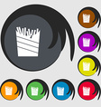 Fry icon sign Symbols on eight colored buttons vector image