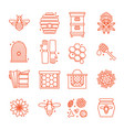 honey and beekeeping icons vector image