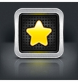 Yellow gold star icon with chrome metal frame vector image