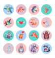 set of animals with hearts valentines day concept vector image vector image