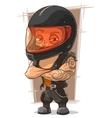 Cartoon cool man in motorcycle helmet vector image