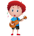 boy singing while playing guitar vector image