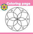 coloring page with abstract flower shape drawing vector image