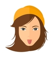 Contemptuous woman sticking out her tongue vector image