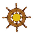 Hand colored drawing of boat helm icon vector image