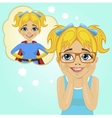 little girl dreaming about becoming superhero vector image