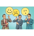 Protesters with placards Emoji joy sadness vector image