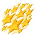Shiny golden stars falling on white background vector image