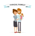 Small girl woman and man happy family couple vector image