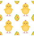 easter eggs and cute baby chicken seamless pattern vector image