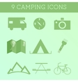 Set of Outdoor Summer camping Icons RV motorhome vector image