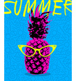 Summer design of pineapple with hipster glasses vector image