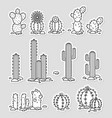 cacti in the desert set of black and white vector image