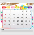 Calendar August 2013 vector image