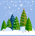 christmas card with tree winter vector image