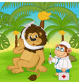 monkey doctor treats lion vector image