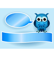 Owl making baby boy announcement vector image