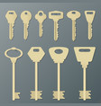 realistic gold isolated keys on wall vector image